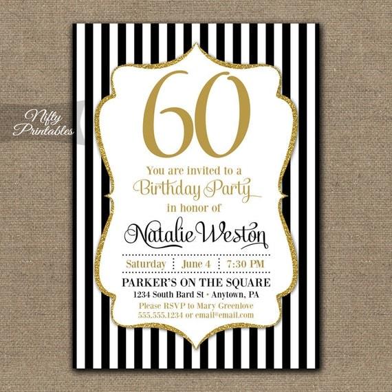 60th birthday invitations black & gold glitter 60 bday, Birthday invitations