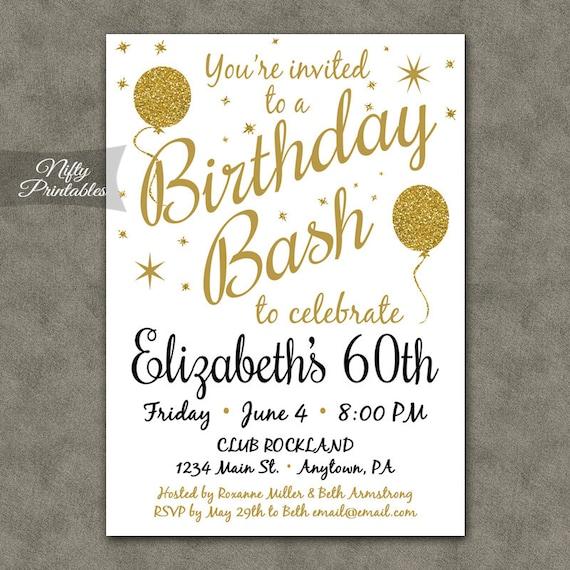 60e anniversaire Invitations imprimable 60 or blanc