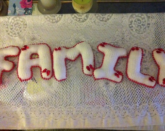 """Knitted Letters """"FAMILY""""  a must for the home"""