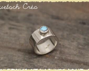 Ring Silver 925 & labradorite round brilliant cut