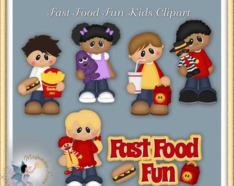 Fast Food Fun Kids Clipart, Birthday, Party