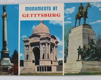 MONUMENTS at GETTYSBURG Card, Vintage post card, Collectible souvenir post card, Gettysburg Color Post Card,Historical Souvenir,vintage card