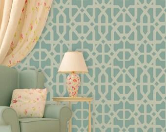 Allover Geometric Wall Stencil Katrina, Trellis stencil for wall accent decor