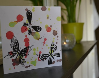 Hand printed lino cut  butterfly card