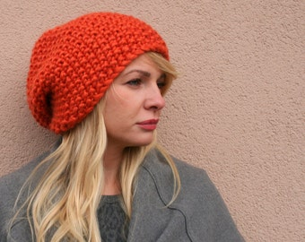 Сhunky knit hat knit slouchy hat knit slouch hat orange hat accessories womens gift womens accessories slouchy hat ellenaknits