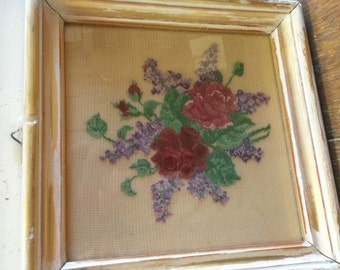 Sale** Vintage Rose needlepoint, gold and white frame shabby chic