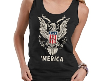 USA Freedom Eagle And Flag 'Merica Cool 4th Of July  Ladies Tank Top