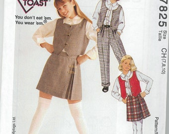Sewing Pattern - Out of Print Girls Skirt, Blouse and Vest  French Toast McCalls Patterns # 7825 TK