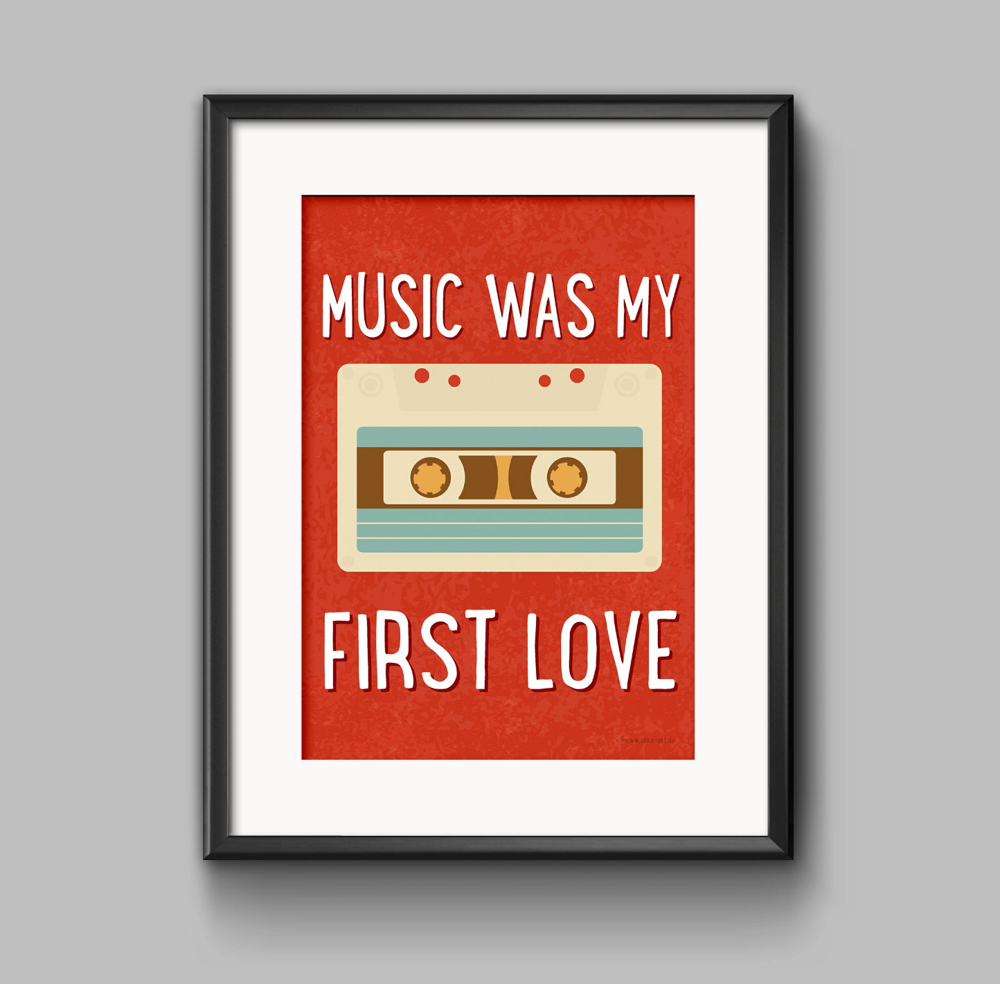 music was my first love digital typography poster. Black Bedroom Furniture Sets. Home Design Ideas