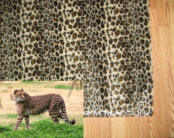 5' x 8' Cheetah Print Faux fur spotted Browns and Beiges rug non-slip washable Great Gift jungle look so thin profile Free Shipping