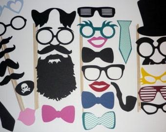 DIY you glue 28 Piece Photo Booth Prop Set Mustache, Beards, Glasses, Hats, eye patch (2072DC)