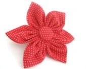 Red Dog Collar Flower.Small ,Medium ,Large.Attaches to the Collar with Velcro