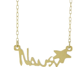 925 Sterling Silver Personalized Any Name Plate W Star Pendant Necklace - Nameplate Necklace