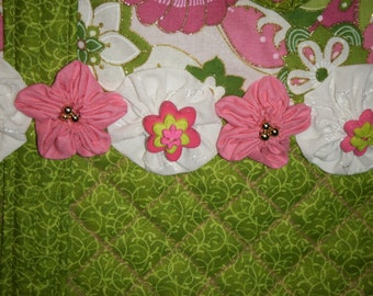 Quilted Green and Pink Tote