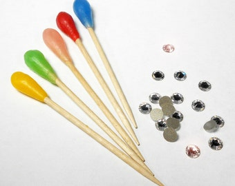 Wax Stick Applicator for Crystal Rhinestones, Gems, Beads, and More 5-Pc. Handmade