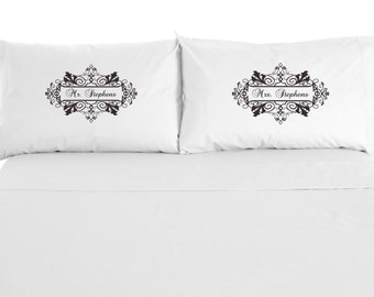 Personalized Mr. and Mrs. Pillowcases with names, Wedding, Couples,  Anniversary, Valentine's Day, Set of 2