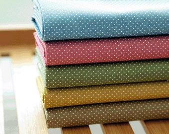 Cotton Fabric Mini Polka Dot in 5 Colors By The Yard
