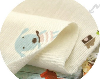 Cotton Jersey Knit Fabric Cute Animals By The Yard