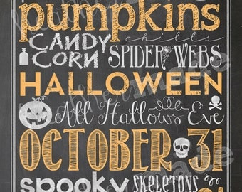 Halloween Subway/Typography Art - chalkboard style with orange accents 16x20 OR 8x10