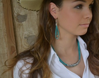 Turquoise Leather Necklace,  Statement Necklace,Leather necklace,Silver Necklace,