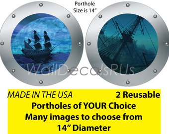 Pirate Wall Decals, Ship Decals, Pirate Decals, Nautical Wall Decals, Ocean Wall Decals O27O17, Porthole windows