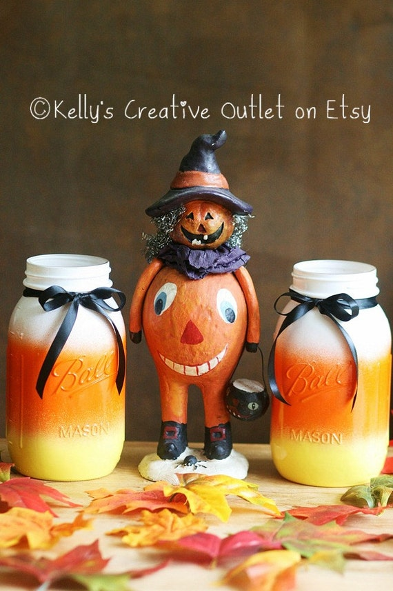 halloween decor halloween candy corn mason jar thanksgiving centerpiece halloween decorations fall decor halloween wedding decor - Candy Corn Halloween Decorations