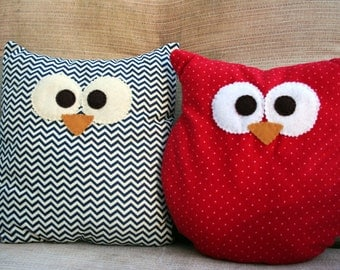 Owl Pillow - Custom - Small or Large - Choose From Multiple Patterns!