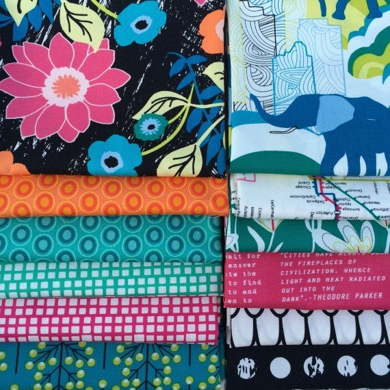 Jungle Ave by Sara Lawson for Art Gallery Fabrics - 12- Piece Bundle