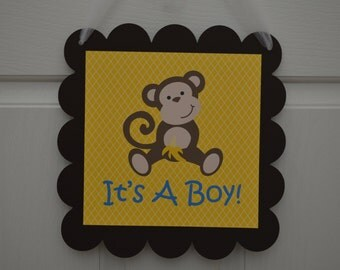 Monkey Theme Baby Shower Door Sign - Blue Yellow and Brown - Monkey Party - Monkey Birthday Door Sign