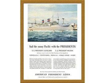 "1957 American President Lines Color AD / Sail the sunny Pacific with the Presidents / 6"" x 9"" / Original Print Ad / Buy 2 ads Get 1 FREE"