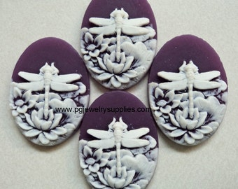 25mm x 18mm oval dragonfly lily flower cameos white on purple 4 pcs lot l