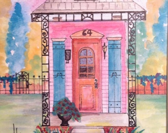 New Orleans Pink 3 Shotgun House