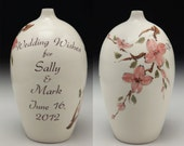 Wedding Wish Vase by David Voorhees, Pink Dogwood Design, personalized with wedding couple's names and wedding date.