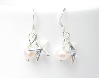 Star earrings - silver star earrings - star jewellery - pearl drop earrings - Pearl star earrings - Bridesmaids gift