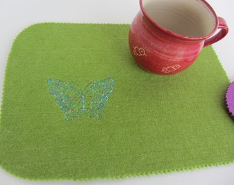 "Special embroidered felt coasters ""Butterfly"""