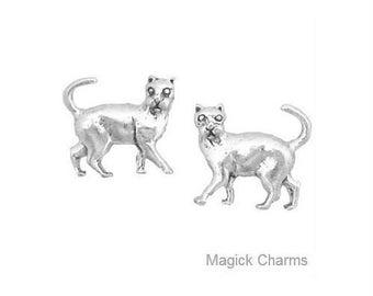 KITTY CAT EARRINGS .925 Sterling Silver, Post Stud - se1634
