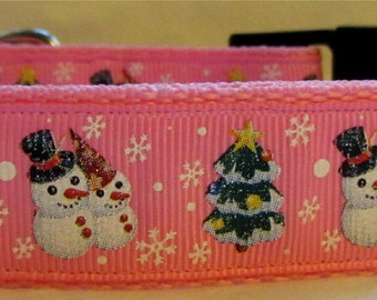 Christmas snowman dog collar