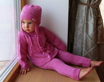 Sizes 0-3-6-12-24 months, Baby Suit, Pink Merino Wool Toddler Sweater Set - Hand knit Cardigan, Pants and Hat.
