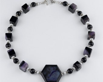 Purple Veins Agate, Black Onyx and Pearl Handmade Statement Pendant Necklace