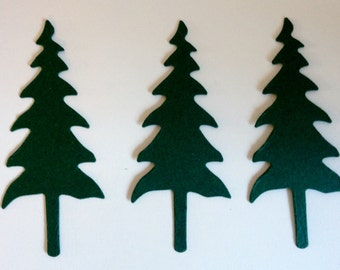 20 dark green Pine Tree Die cuts for cardmaking christmas cards toppers scrapbooking