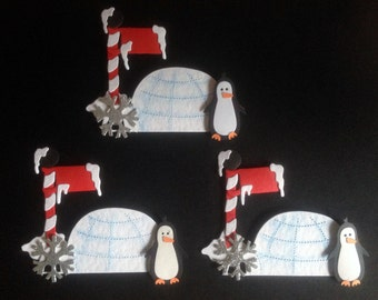 3 Luxury Handmade Penguin Ice Pole Igloo Card Toppers for Christmas Cards Card making Scrapbooking Craft Project