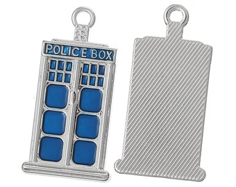 10 Small Tardis Police Box Charm Pendants Blue and Silver Charms Wedding Favors 27mm ON SALE! Going fast!