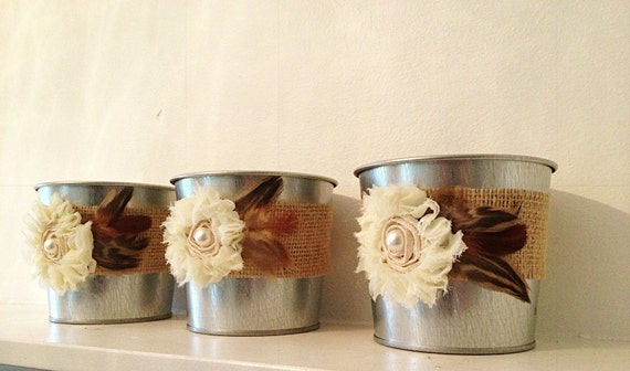 Small silver tin bucket pails wedding reception candle favor