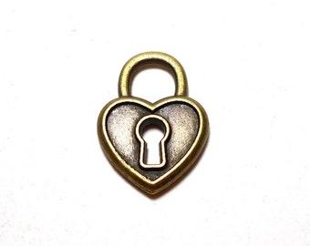 3 Keyhole Heart Charm, 19x4mm, Antique Bronze Key to My Heart, Unlock Heart Charms, Heart Charms, Heart Charm, Heart Pendants BC0027