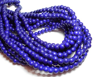 6mm Round Blueberry Purple Wood Beads, Round Wood Beads, Blue Beads, Dyed Wood Beads, Wooden Beads, Wood Beads for Jewelry D-M04B