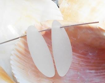 2 White Sea Glass Pendants, 25x17mm, Clear Sea Glass Charms, White Matte Glass Pendant, Ocean Pendant, Beach Charms Sea Glass Earrings D-H42