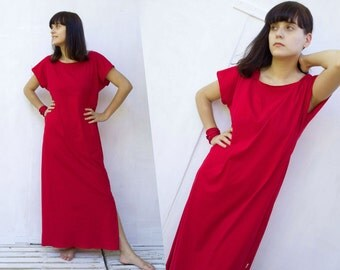 Red Maxi Dress Basic Maxi Dress 100% Organic Cotton women's clothing T shirt dress