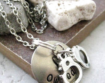 Owned Necklace, Handcuffs Necklace, Slave Necklace, Submissive gift, slave gift, You Belong to Me, BDSM Necklace, choose metal and length