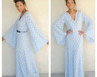 bohemian blue lace bell sleeve maxi dress. vintage inspired angel long sleeves boho. sheer lace. size small medium large. stretch lace