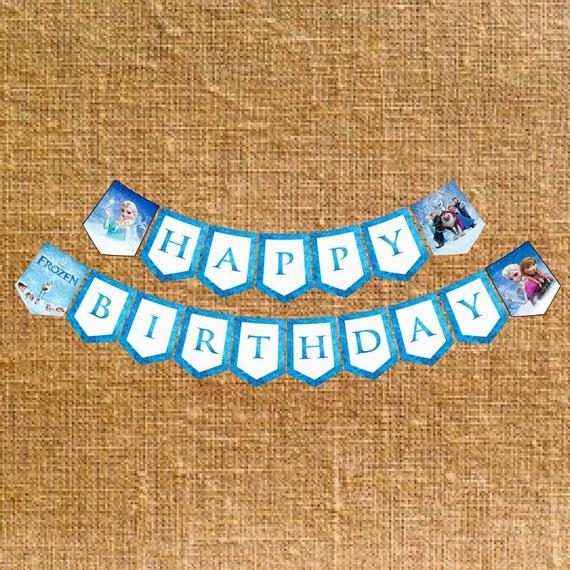 Frozen Happy Birthday Banner Digital File INSTANT DOWNLOAD